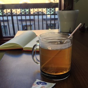 Finished desk-brewed green tea Kuerig hack with a MiniBru